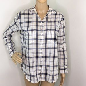 Madewell Blue & Tan Plaid Shirt